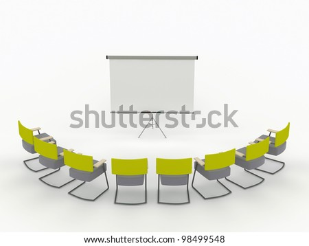 training room with marker board and chairs. isolated on a white background