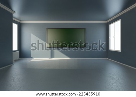 Training seminar room with windows and chalkboard 3D rendering - stock photo