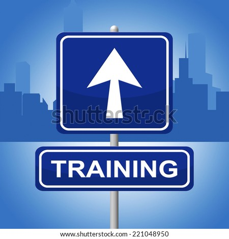 Training Sign Meaning Instruction Display And Webinar - stock photo