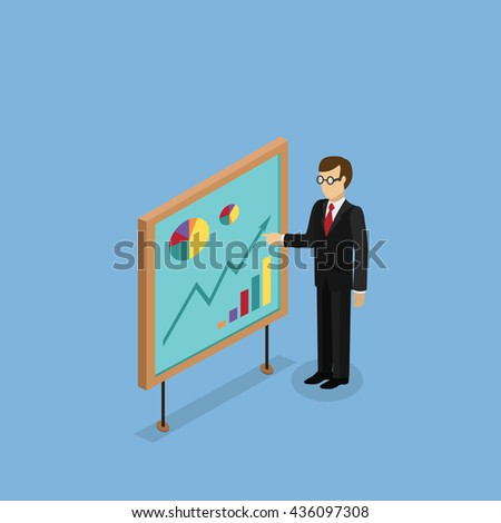 Training staff briefing presentation. Staff meeting, staffing and corporate business training, employee training, mentor business seminar meeting . Isometric Man near board with carts and graphs