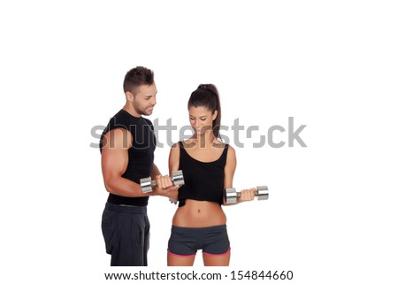 Training with my personal trainer isolated on white - stock photo