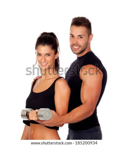 Training with my personal trainer isolated on white