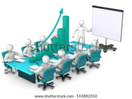 Training with white cartoon characters. Table with green Chart. White background. - stock photo