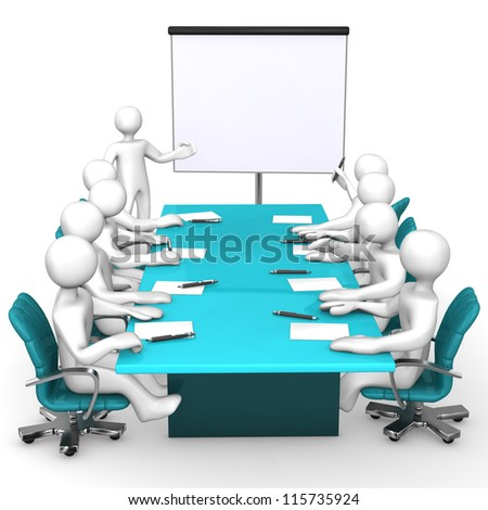 Training with white cartoon characters. White background. - stock photo