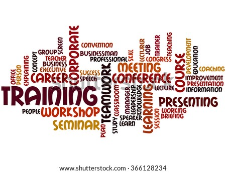 Training, word cloud concept on white background. - stock photo