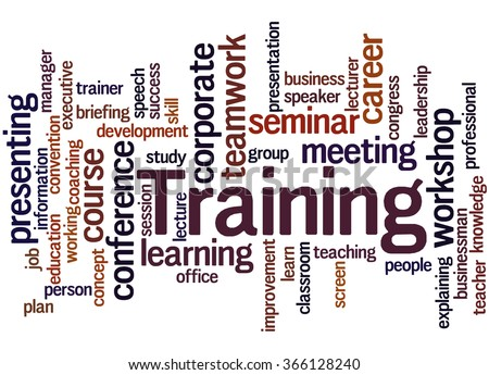 Training, word cloud concept on white background.