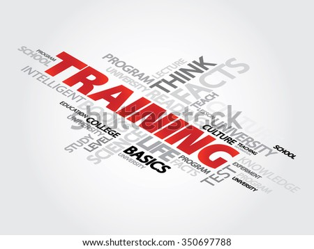 Training Word Cloud Concept with great terms such as classroom, education, trade, vocational, knowledge, required, presentation background - stock photo
