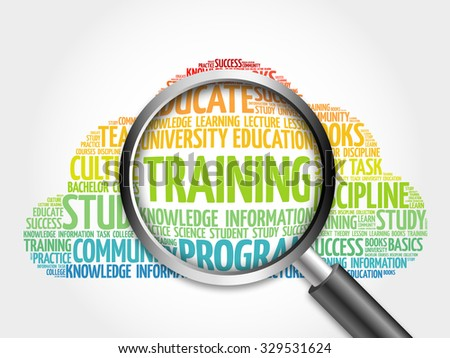 TRAINING word cloud with magnifying glass, concept - stock photo