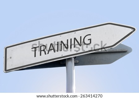 TRAINING word on road sign - stock photo