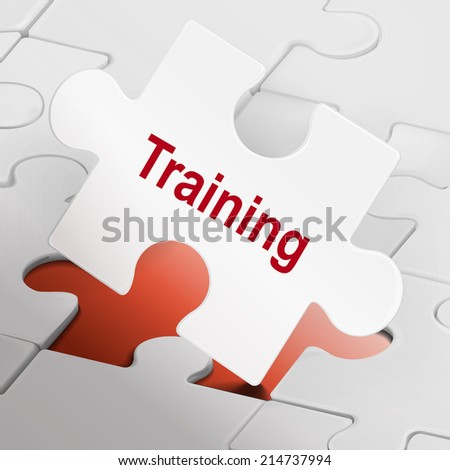 training word on white puzzle pieces background - stock photo