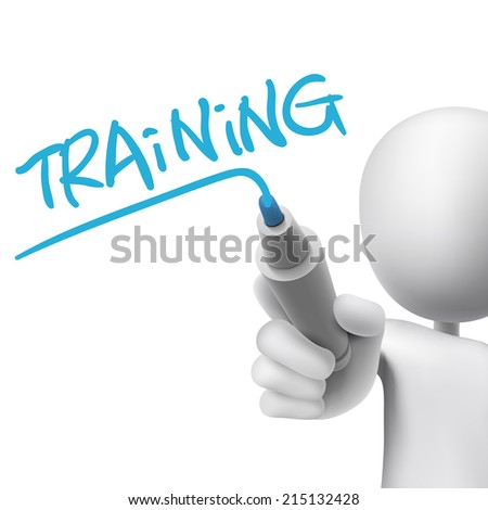 training word written by 3d man over white  - stock photo