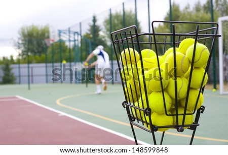 trainings on game in tennis - stock photo