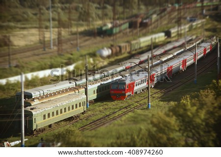 Trains at the parking.  - stock photo