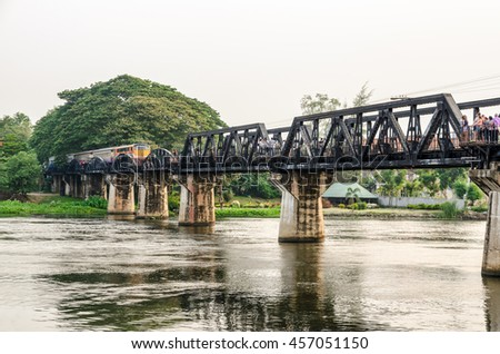 Trains for travel running on the old bridge over the River Kwai Yai is a historical attractions during World War 2 the famous of Kanchanaburi Province in Thailand - stock photo