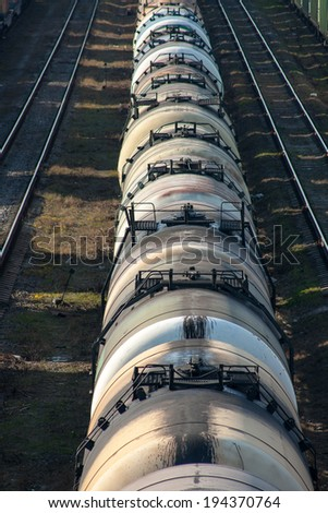 Trains on rails - stock photo