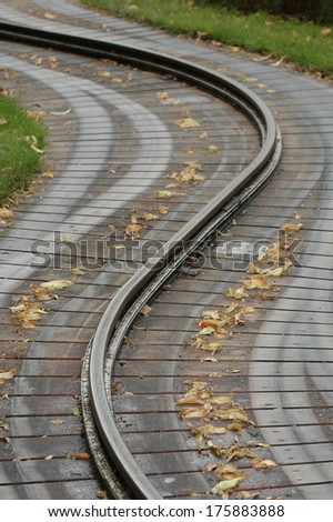 Traintrack curving - stock photo
