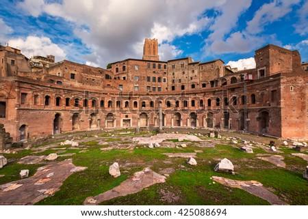Trajan Forum in Rome, Italy - stock photo