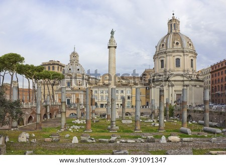 Trajan's Forum with churches Santa Maria di Loreto and Santissimo Nome di Maria al Foro Traiano on the background in Rome