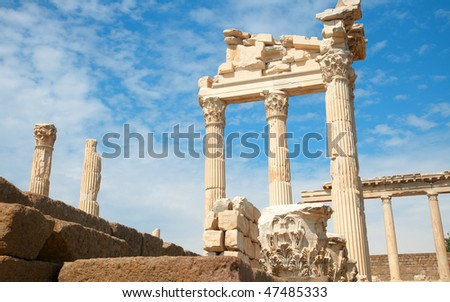 Trajan Temple columns in ancient city of Pergamon, Turkey