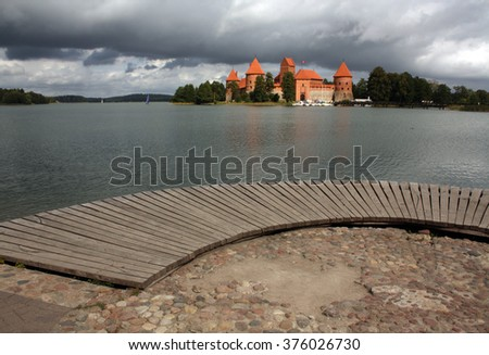 Trakai castle in Lithuania. View from pier.