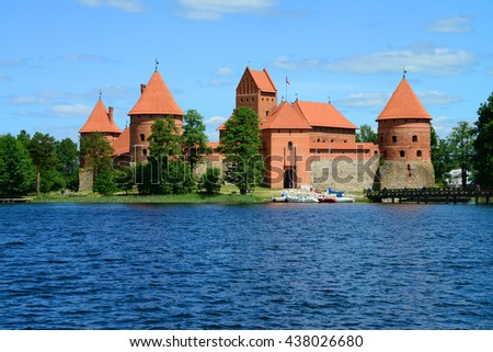 Trakai Castle, on an island on Lake Galve, in Lithuania (with copy space).