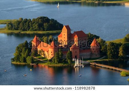Trakai castle (Traku pilis) in Lithuania near Vilnius - stock photo