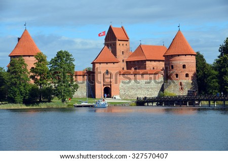 "TRAKAI LITHUANIA SEPTEMBER 14 2015: Trakai Island Castle is an island castle located in Trakai, Lithuania on an island in Lake Galv?. The castle is sometimes referred to as ""Little Marienburg""."