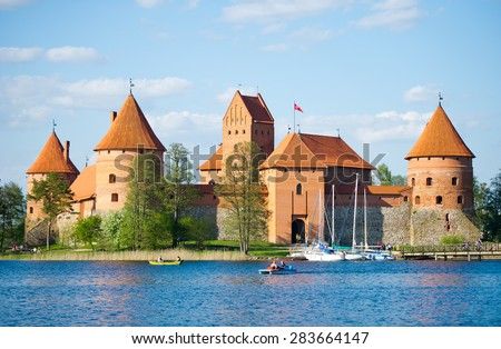 TRAKAI, VILNIUS - APR 30: Trakai Castle - Island castle on April 30, 2014 in Trakai, Vilnius, Lithuania. Trakai Castle is one of the most popular tourist destinations in Lithuania.