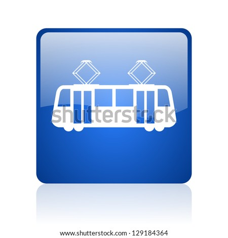 tram blue square glossy web icon on white background - stock photo