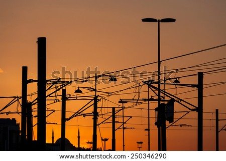 Tram electric wires
