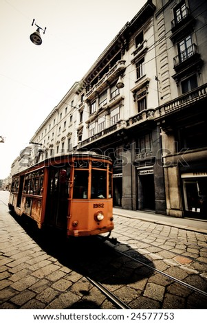 Tram from the 1920s in Milan - stock photo