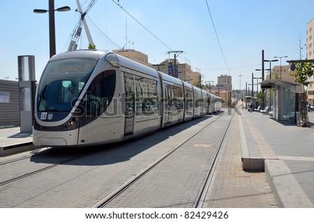 Tram in Jerusalem test flight without passengers - stock photo
