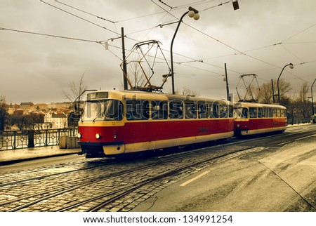 tram in the city of Prague