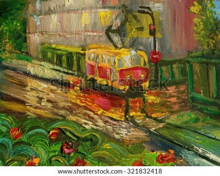 Tram in the street after rain reflected in puddles. Oil painting.