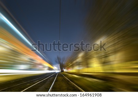 Tram light in the night - stock photo