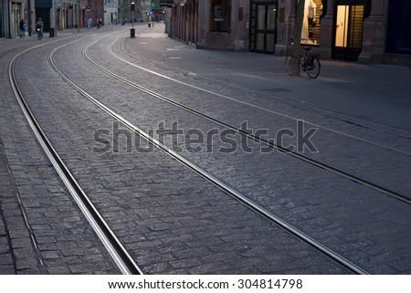 Tram lines - stock photo