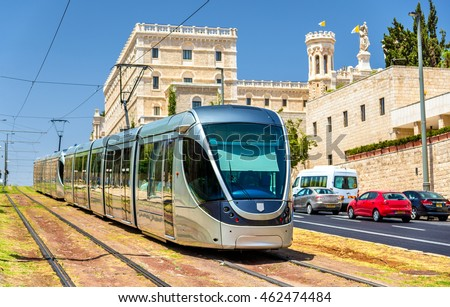Tram on the light rail in Jerusalem - Israel