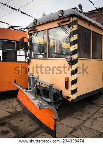 Tram plow - stock photo