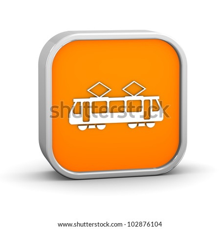Tram sign on a white background. Part of a series. - stock photo