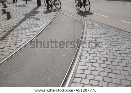 Tram Track and Bikes; Den Haag; the Hague; Holland; Netherlands