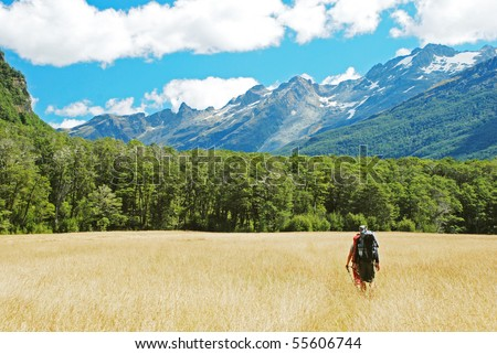 Tramping in New Zealand - stock photo