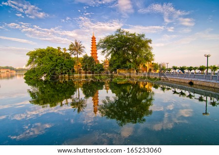 Tran Quoc pagoda in early morning in Hanoi, Vietnam
