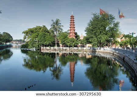 Tran Quoc pagoda in early morning in Hanoi, Vietnam. This pagoda is located on a small island near the southeastern shore of West Lake. This is the oldest Buddhist temple in Hanoi.