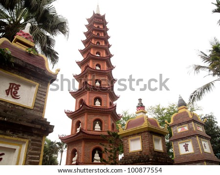 Tran Quoc Pagoda in Hanoi, Vietnam - stock photo