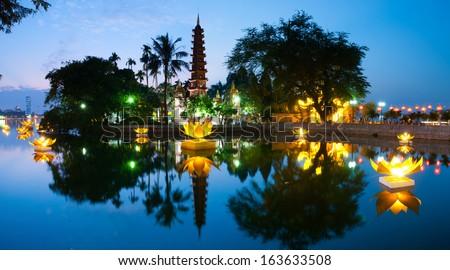Tran Quoc pagoda in the full-moon day. Hanoi, Vietnam - stock photo