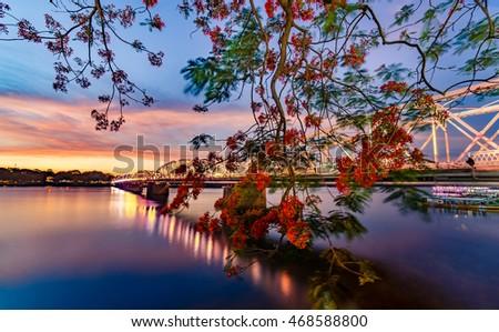 Trang Tien Bridge, Hue, Vietnam. 12 June 2016 :Beautiful sunset in Huong River, and Trang Tien Bridge is the most beautiful bridge in Hue in Vietnam , Unesco World Heritage Site