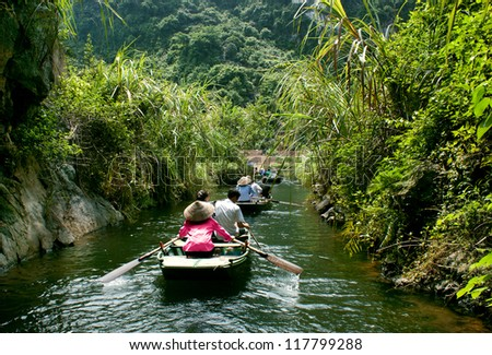 TrangAn Tourist boat most popular place in Vietnam. - stock photo