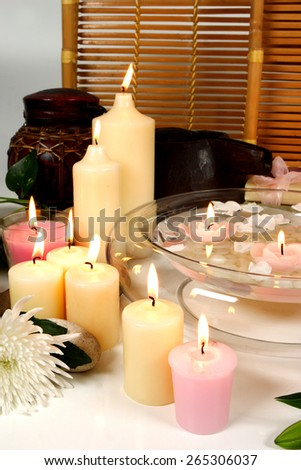 Tranquil candles with flowers