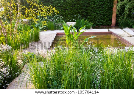 Tranquil garden - stock photo