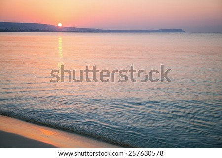 Tranquil morning seascape, sea at dawn - stock photo